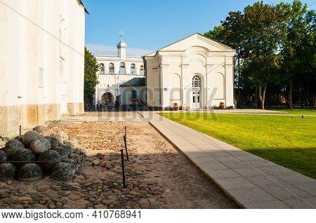 Veliky Novgorod, Russia - August 31, 2019. Veliky Novgorod Kremlin Territory, St Sophia Cathedral Be