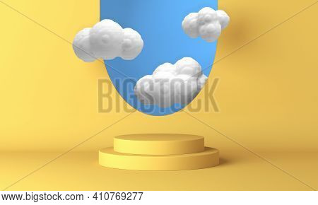 Yellow Podium With White Clouds Flying Through The Window. 3d Rendering
