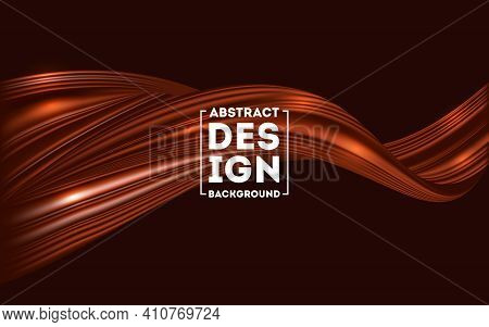 Abstract Brown Flow Background, Chocolate Flow Mesh Background Vector