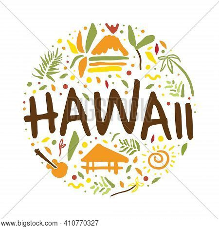 Hawaii Banner Template, Summer Paradise, Tropical Vacation, Surfing Poster, Card, Background Vector