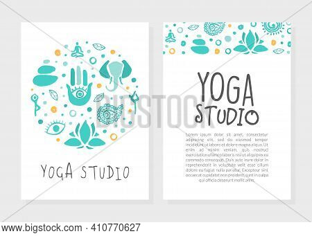Yoga Studio Business Card With Front And Back Side, Ayurveda, Traditional Medicine, Meditation Class