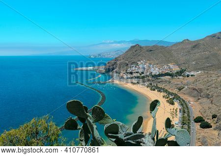 Playa De Las Teresitas With Turquoise Water And Gold Sand Located In Near The Village San Andrés In