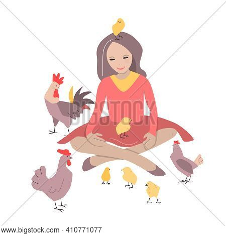 Young Woman Sitting With Chickens And Poultry Around Her. Cute Person Isolated On White Background.