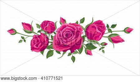 Bouquet, Garland Of Pink Roses. Vector Illustration, Decoration For Cards, Wedding Invitations. Pink