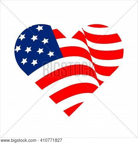 Heart Shape American Flag. Vector Illustration, Banner Icon. Decoration For The Us Independence Day.