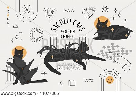 Sacred Cats Modern Graphic Design. The Eclectic Style Set With Black Cats, Palm Leaves, Stars, Halos