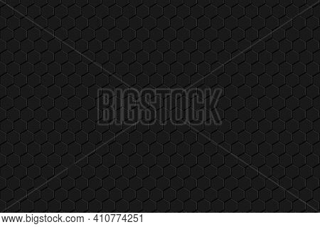 Carbon Fiber Black Hexagon Texture. Metal Grid Black Steel Background. Dark Carbon Texture.