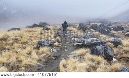 Annapurna, Nepal - November 09, 2018: Tourist Going Up On The Way To Annapurna Base Camp, Himalayas,