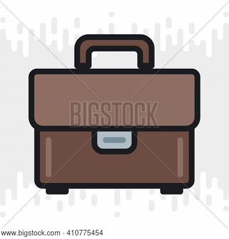Briefcase Or Portfolio Icon. Simple Color Version On A Light Gray Background