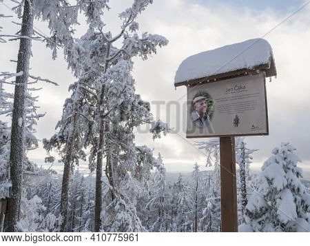 Czech Republic, Brdy Mountains, January 9, 2021: View Of Signboard With Info Text About Writer Jan C