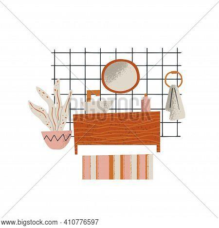 Furniture Store Concept. Bathroom Interior Design. Furniture Elements Set Including Mirror, Cupboard