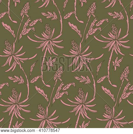 Flower Repeat Texture, Nature Seamless Print. Ornament Floral Background Khaki Green Dusty Pink Tren