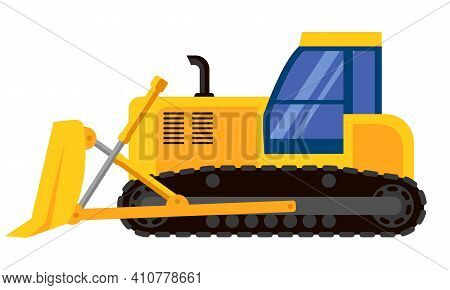 Bulldozer Side View. Special Machinery In Cartoon Style.