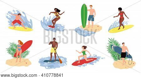 Collection Of Cute Funny People In Swimwear Surfing In Sea Or Ocean. Flat Cartoon Vector Illustratio