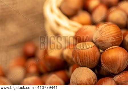 Hazelnuts In A Wicker Basket And Loose Nuts. It's Time For The Autumn Harvest. Close-up, Selective F