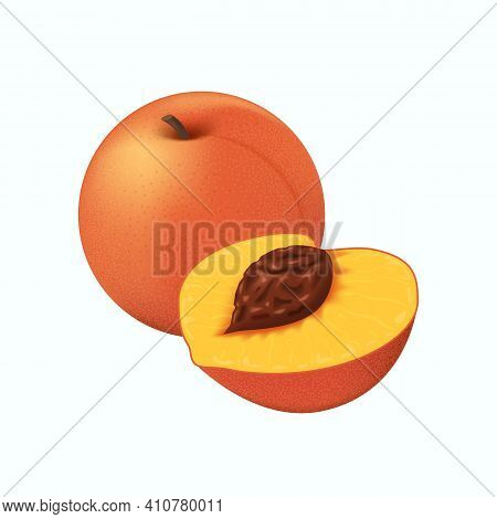 Peach Fruit. Realistic Ripe Whole And Half Peach Isolated On White Background.