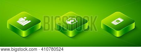 Set Isometric User Protection, Smartphone And Productive Human Icon. Vector