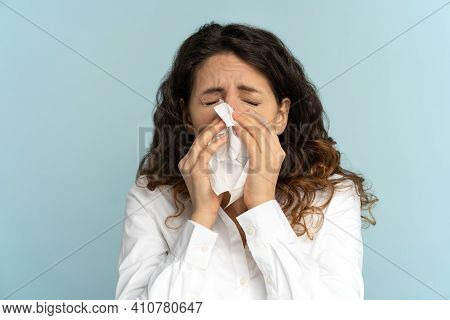 Close Up Studio Portrait Of Young Office Employee Woman In White Blouse With Tissue, Sneezing, Suffe