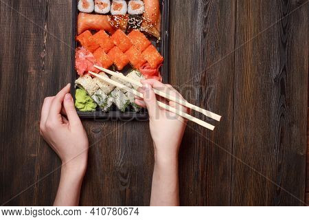 Sushi Chopsticks Rolls Snack Delicacy Japanese Cuisine