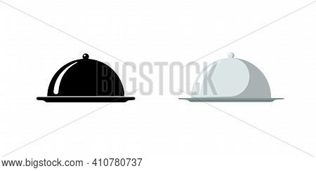 Restaurant Cloche. Cafe Food Serving Tray Icon Set. Covered Dish Symbol Black And Silver On White Ba