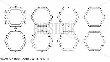 Filigree Decorative Black Frame Set. Ornamental Elegant Vintage Hexagon. Graphic Floral Text Frame F