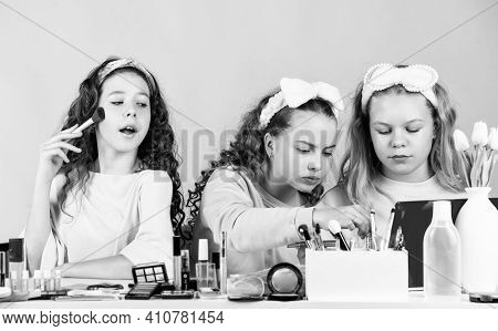 Confident In Style. Makeup For Kids. Group Of Happy Friends At Spa. Friendship Party With Cosmetic.