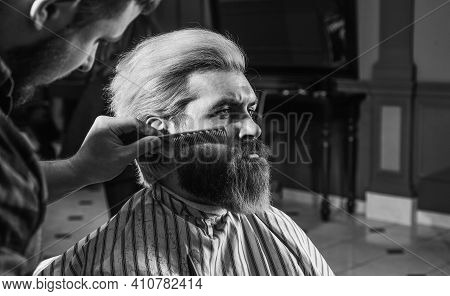 Man At Barbershop. Hairdresser Salon. Professional Barber And Client. Trimming Beard Close Up. Maint