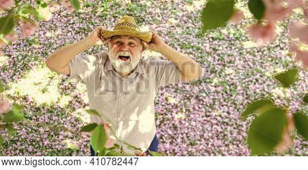 Happy Smiling Senior Man Looking Up. Old Man Imagining Beautiful Good Things To Realize Further. Mat