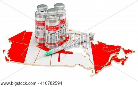 Vaccine And Syringe With Canadian Map. Vaccination In Canada Concept, 3d Rendering Isolated On White