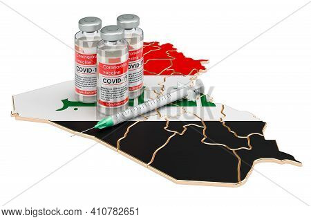 Vaccine And Syringe With Iraqi Map. Vaccination In Iraq Concept, 3d Rendering Isolated On White Back