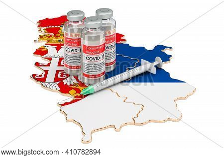 Vaccine And Syringe With Serbian Map. Vaccination In Serbia Concept, 3d Rendering Isolated On White