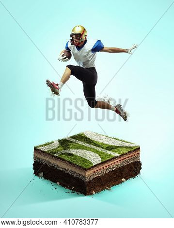 Flying. American Football Player On Blue Background Above Stadium Layers. Professional Sportsman Dur