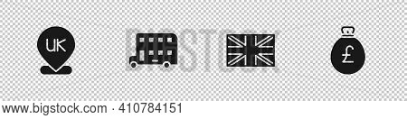 Set Location England, Double Decker Bus, Flag Of Great Britain And Money Bag With Pound Icon. Vector