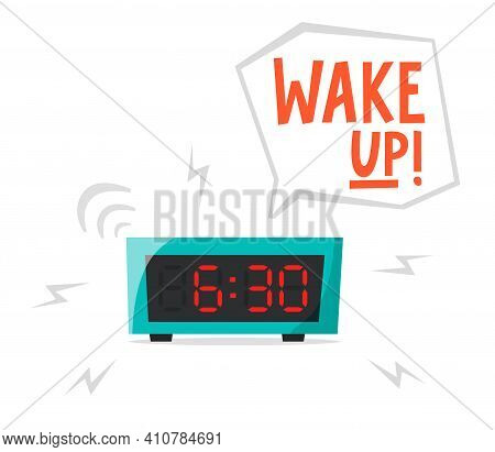 Ringing Alarm Clock, Electronic Clock, Early Morning Concept, Waking Up Early, Flat Vector Illustrat