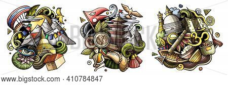 Nepal Cartoon Vector Doodle Designs Set. Colorful Detailed Compositions With Lot Of Nepali Objects A
