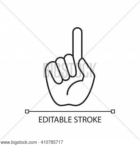 One Finger Pointing Linear Icon. Pointing With Index Finger Of Hand At Something. Thin Line Customiz