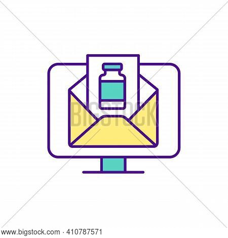 Computer Screen With Envelope Image Rgb Color Icon. Buying Medicine Online Tips. Picture Of Medicine
