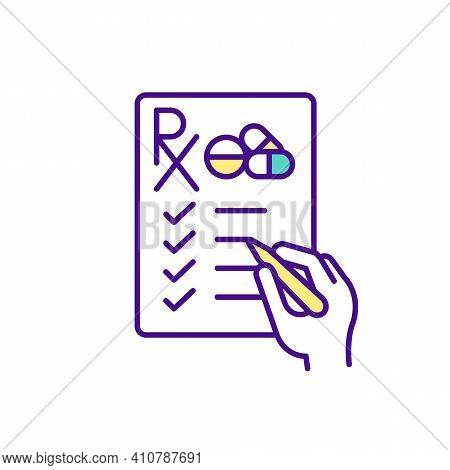 Completing Prescription Form For Medicines Rgb Color Icon. Hand With Pencil Fills Out The Blank. Dru