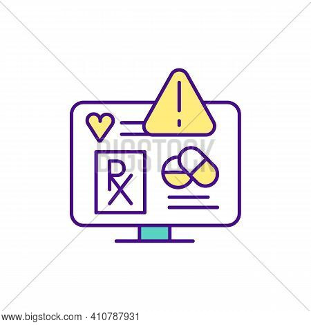 Buying Prescription Drugs From Online Pharmacy Rgb Color Icon. Prescription Medicine. Buying Medicin