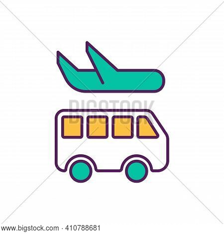 Bus And Airplane Rgb Color Icon. Travel And Public Transit. Type Of Business Activity. Economic Orga