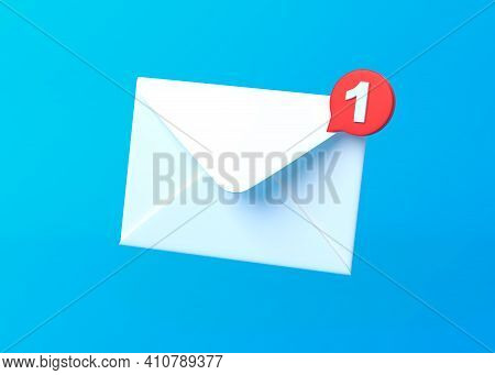 White Mail Envelope With Red Marker Message On Blue Background. Envelope Falling On The Ground. Emai