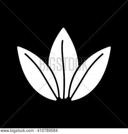 Tea Leaves Dark Mode Glyph Icon. Fresh Plant. Condiment For Cookery. Vegan Recipe Ingredient. Season