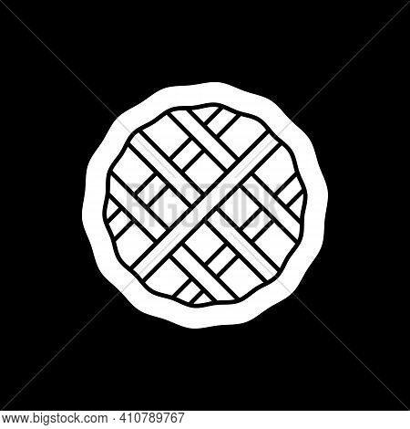 Homemade Pie Dark Mode Glyph Icon. Top View On Pastry. Culinary Product And Bakery Dessert. Sweet Fo