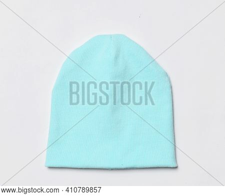 Modern Knitted Light Blue Beanie Hat, Knitwear Isolated On White