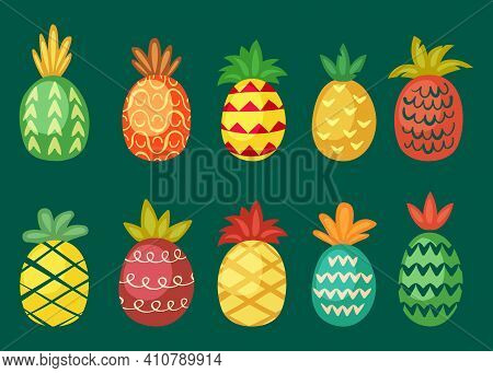 Pineapples With Bright Ornaments Set. Wavy Red Tropical Fruit With Barbed Print Juicy Geometric Shap