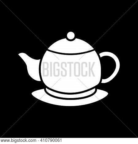 Ceramic Teakettle Dark Mode Glyph Icon. Kettle For Tea Ceremony. Kitchen Appliance. Porcelain Teapot