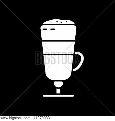 Latte Macchiato Dark Mode Glyph Icon. Layered Coffee Drink In Glass Cup. Coffeeshop Menu Beverage. C