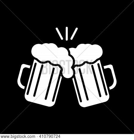 Toast With Beer Mugs Dark Mode Glyph Icon. Party Celebration With Friends. Clink With Pints Of Ale.