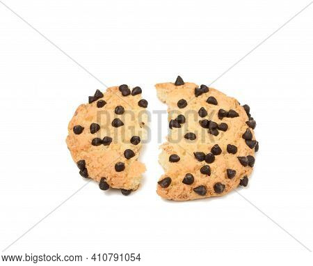 Broken In Half Round Biscuit Biscuit With Chocolate Pieces Isolated On White Background, Top View