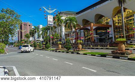 Labuan,malaysia-feb 20,2021:view Of The Street In Centre Of The City Of Labuan Island,malaysia.labua